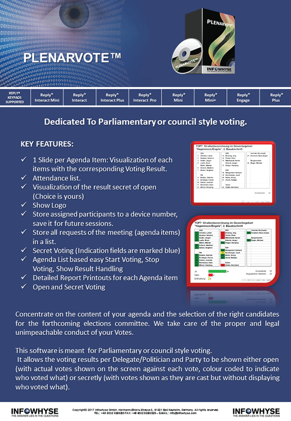 PlenarVote - Dedicated to Parliamentary or council style voting