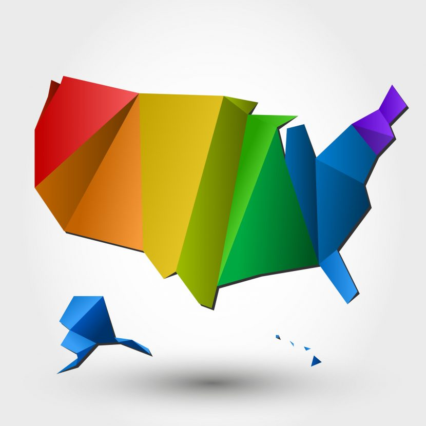 US - Map Colourful
